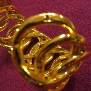 CHANEL Jewelry - Vintage Authentic Chanel Gold Braid Cuff Bracelet